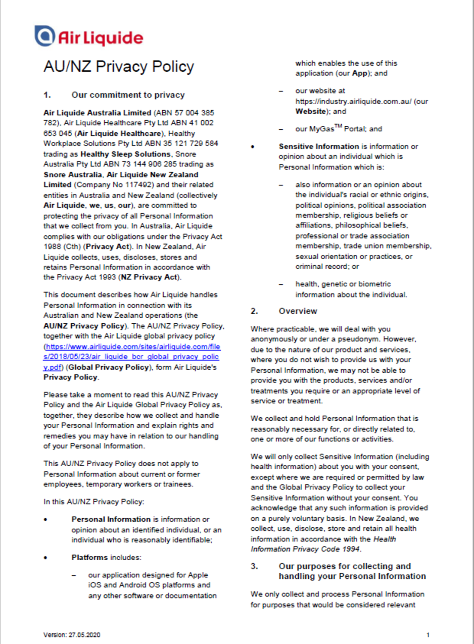 Cover of Air Liquide ANZ Privacy Policy