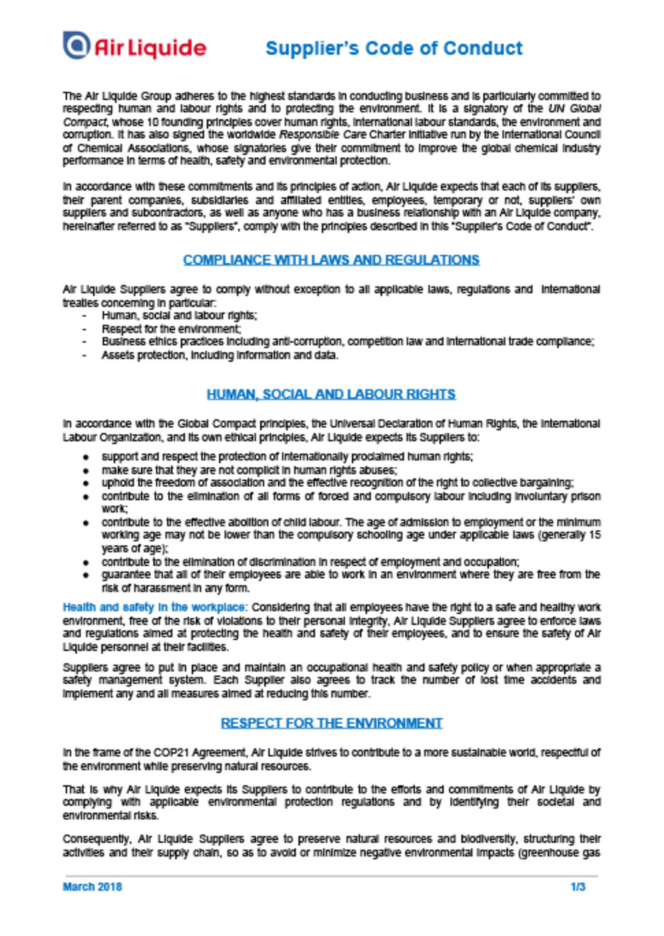 Air Liquide Supplier's Code of Conduct cover