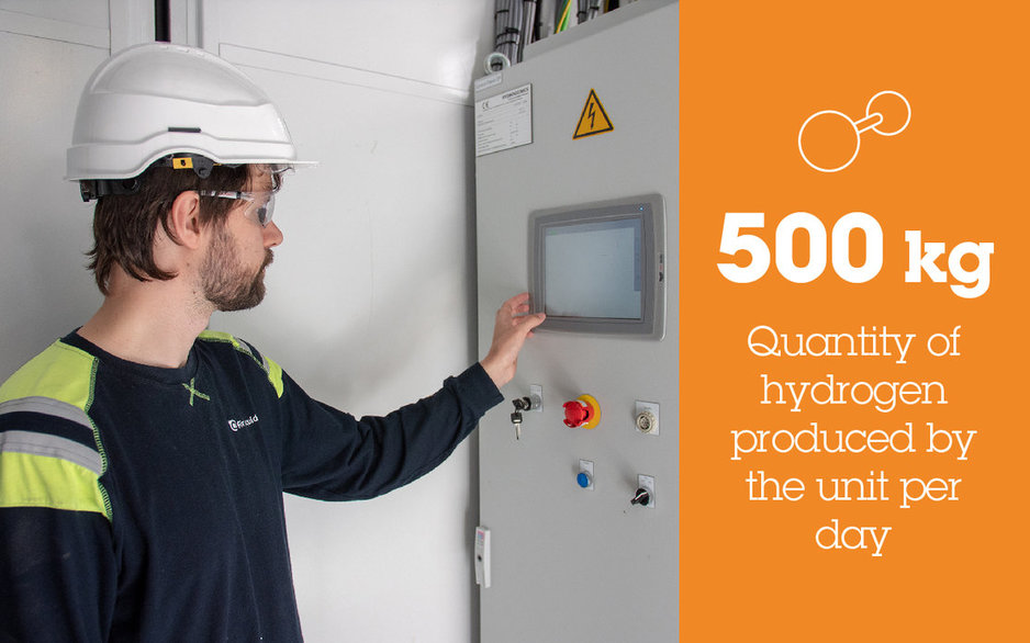 500kg Quality of hydrogen produced by the unit per day
